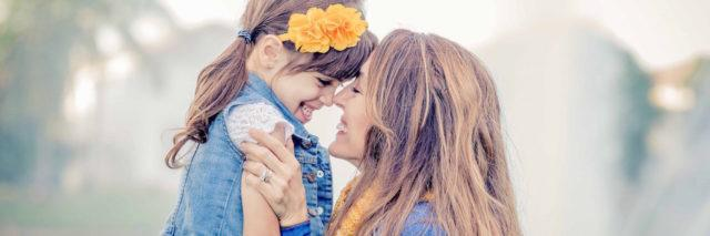 The author and her daughter embracing
