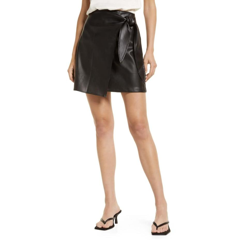 <p>This <span>Amy Lynn Knotted High Waist Faux Leather Miniskirt</span> ($89) looks polished and fun, so you'll find yourself wearing it a lot. The wrap silhouette adds drama, while the knot makes it playful. </p>