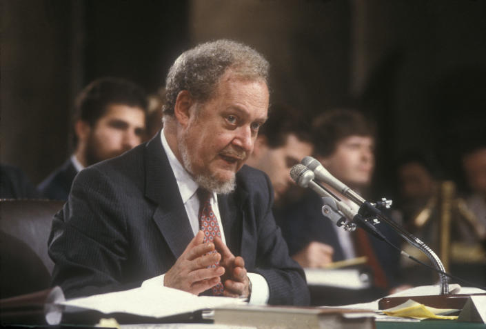 Judge Robert Bork testifies before the Senate Judiciary Committee on his nomination to be a Supreme Court justice in 1987. (Photo: Shepard Sherbell/Corbis via Getty Images)