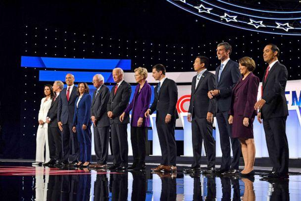 PHOTO: Democratic presidential candidates at the start of the Democratic Presidential Debate at Otterbein University on October 15, 2019, in Westerville, Ohio. (Nicholas Kamm/AFP/Getty Images)