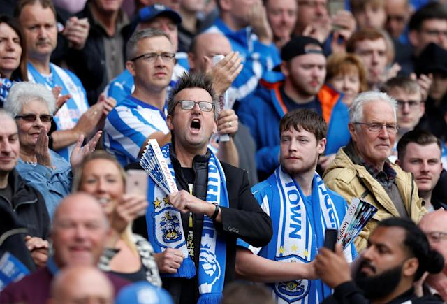 <p>Huddersfield Town fans during the match Action Images via Reuters/Ed Sykes </p>