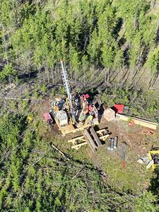 Aerial Image of Standard Uranium drilling at Davidson River project.