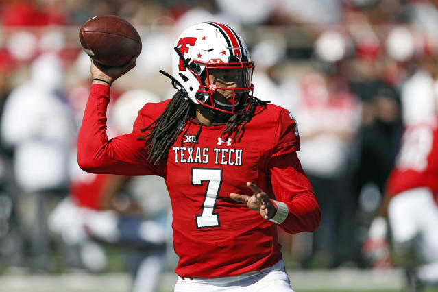 Texas Tech's Jett Duffey (7) passes the ball during the first half of an NCAA college football game against Iowa State, Saturday, Oct. 19, 2019, in Lubbock, Texas. (Brad Tollefson/Lubbock Avalanche-Journal via AP)