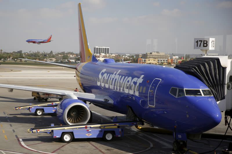 FILE PHOTO: Southwest Airlines planes are seen at LAX airport in Los Angeles