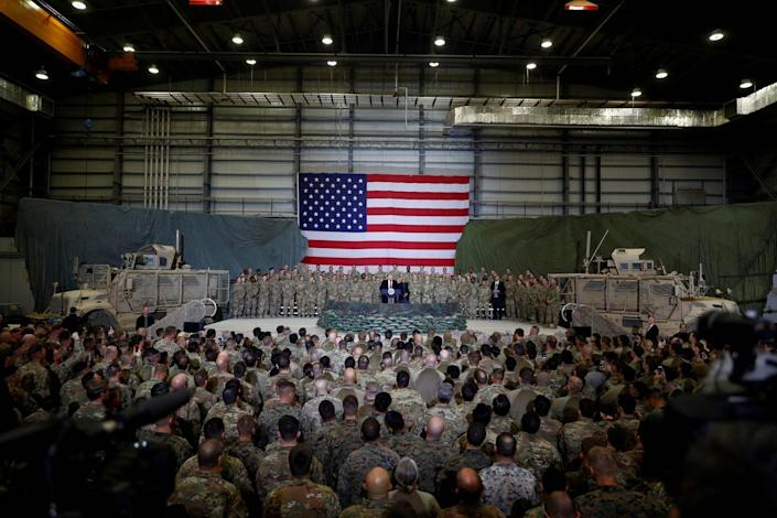 Then-President Donald Trump delivering remarks to US troops at Bagram Air Base in Afghanistan.