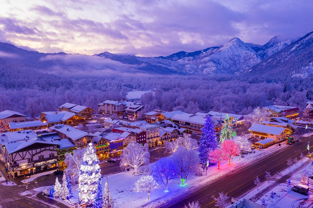 """<p>This Bavarian-themed Christmas town is just two hours northeast of Seattle, and its main street is worth a visit all on its own (plus, there's a reindeer farm). There are <a href=""""https://leavenworth.org/experience/sleigh-rides/"""">four different farms and purveyors</a> in town that offer daily sleigh rides for the whole family throughout the winter season. But if you head there on weekends in December, you'll catch a glimpse of the Christmas Lighting Festival and the 50,000 outdoor lights that are on display at the annual Christkindlmarkt.</p>"""
