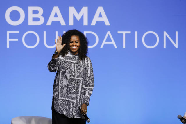 Former U.S. fist lady Michelle Obama reportedly met with NBA and WNBA players on Sunday to talk about the importance of voting. (AP/Vincent Thian)