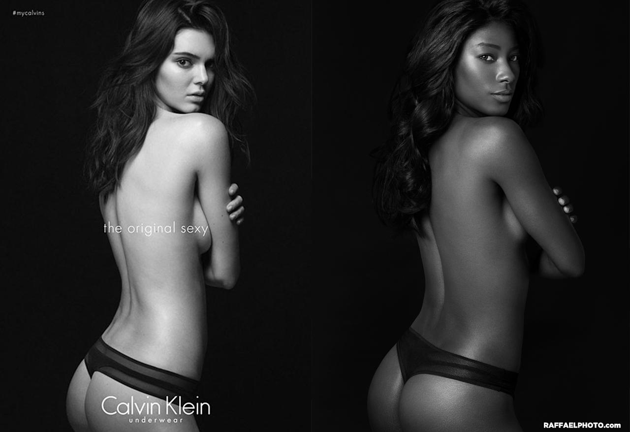 <p>Howard poses as Kendall Jenner in this racy Calvin Klein ad. </p>