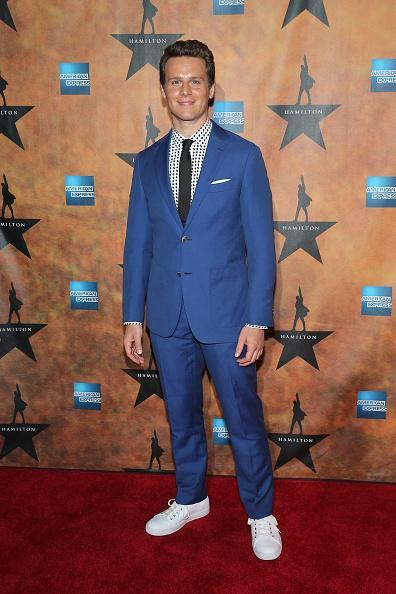 <p>Jonathan Groff, who plays King George III in the musical, wore an electric blue suit with a black tie and polka dot shirt. Like Miranda, he paired his formal wear with sneakers.</p>