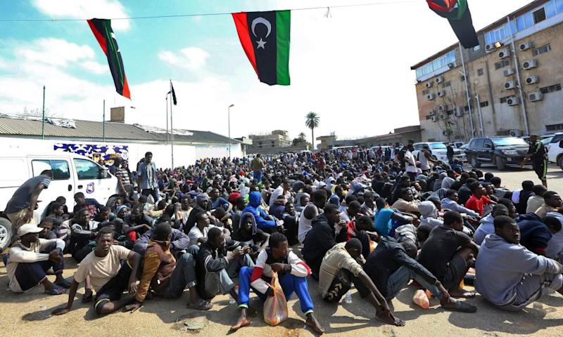 Migrants gather at the Tripoli branch of the Anti-Illegal Immigration Authority.