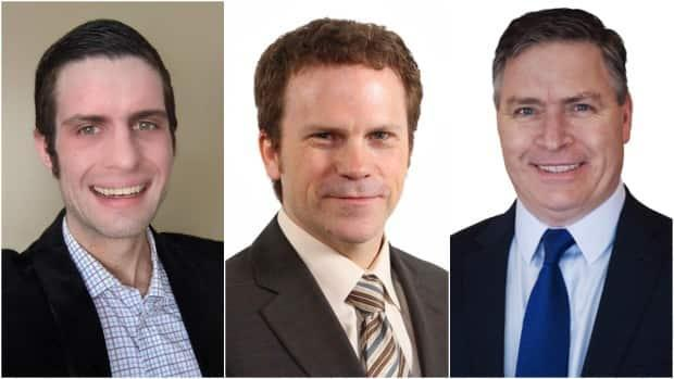 From left, NDP candidate Jamie Ruby, Liberal Scott Simms and Conservative Clifford Small. (CBC - image credit)