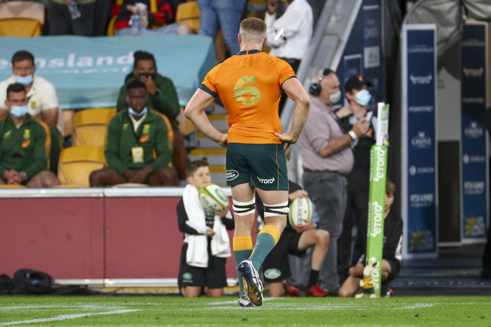 Australia's Lachlan Swinton leaves the field after he was shown a yellow card during the Rugby Championship test match between the Springboks and the Wallabies in Brisbane, Australia, Saturday, Sept. 18, 2021. (AP Photo/Tertius Pickard)