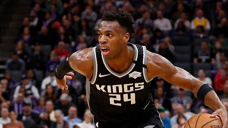 Sacramento Kings guard Buddy Hield during the second half of an NBA basketball game against the Oklahoma City Thunder in Sacramento, Calif., Wednesday, Jan. 29, 2020. The Thunder won 120-100. (AP Photo/Rich Pedroncelli)