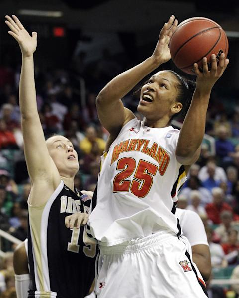 FILE - In this March 3, 2012, file photo, Maryland's Alyssa Thomas (25) shoots over Wake Forest's Millesa Calicott (15) during the first half of an NCAA Atlantic Coast Conference women's tournament college basketball game in Greensboro, N.C. Thomas received 19 votes from a national media panel Tuesday, Oct. 30, to join The Associated Press' women's basketball preseason All-America team. (AP Photo/Chuck Burton, File)