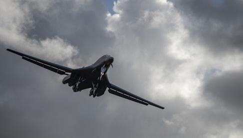 The US Air Force sent two B-1B Lancers for a 32-hour round-trip flight over the South China Sea on April 29. Photo: Handout