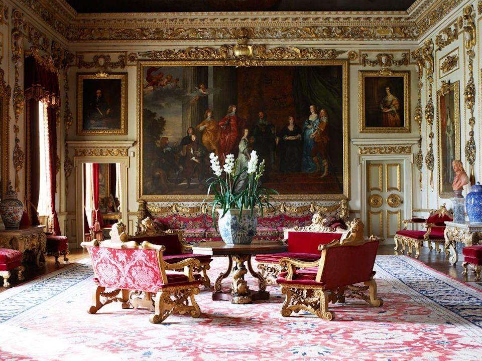 """<p>Another impressive home that was used to depict the interiors of Buckingham Palace is Wilton House, which can also be seen in 2020's<em> Emma, Pride and Prejudice</em> (2005), and <em>Sense and Sensibility </em>(1995). Clearly, Wilton House perfectly suits a range of period dramas, which should come as no surprise given its impressive history. Wilton House has belonged to the Earls of Pembroke for over 400 years, and it sits on 22 acres of lush landscaping, so there's plenty to see here. Fortunately, this country home and its grounds are open for public tours, and—get ready for this, design lovers—Wilton House hosts the <a href=""""https://www.wiltonhouse.co.uk/events/antiques-fair/"""" rel=""""nofollow noopener"""" target=""""_blank"""" data-ylk=""""slk:Annual Antiques Fair"""" class=""""link rapid-noclick-resp"""">Annual Antiques Fair</a> every March. </p>"""