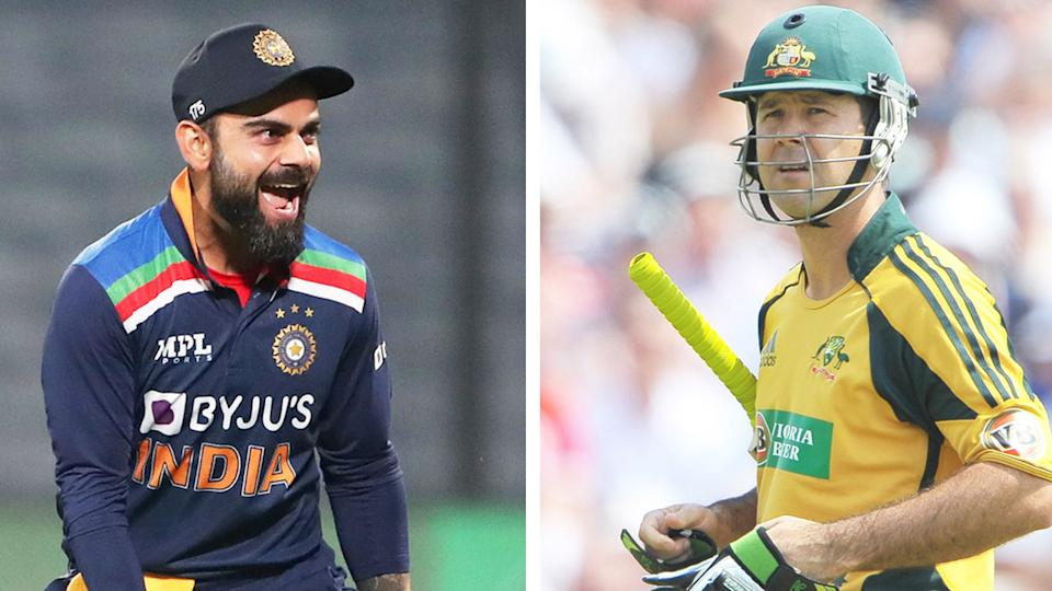 Virat Kohli (pictured left) celebrating a wicket and Ricky Ponting (pictured right) walking after getting out.