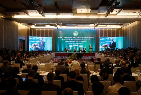 Britain's Prince William is seen on screen while he speaks at the Conference on illegal wildlife trade in Hanoi, Vietnam November 17, 2016. REUTERS/Kham