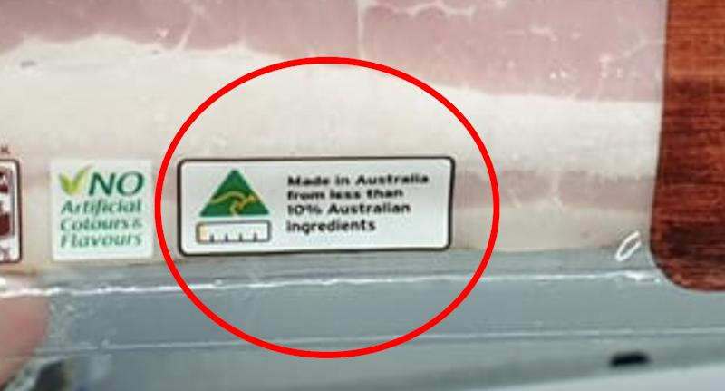 The Country of Origin label on the Coles streaky bacon is circled.
