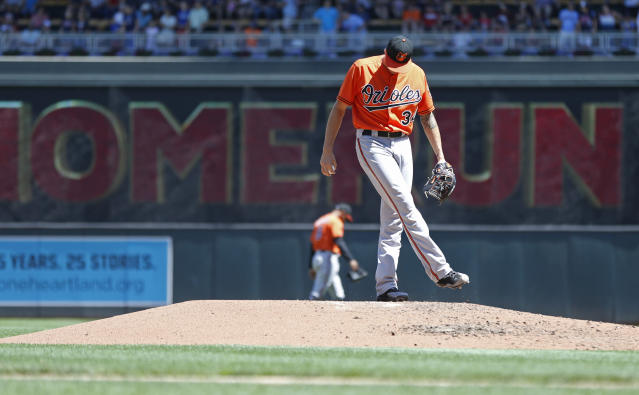 Baltimore Orioles pitcher Kevin Gausman kicks the dirt after he gave up a solo home run to Minnesota Twins' Max Kepler in the fifth inning of a baseball game Saturday, July 7, 2018, in Minneapolis. (AP Photo/Jim Mone)