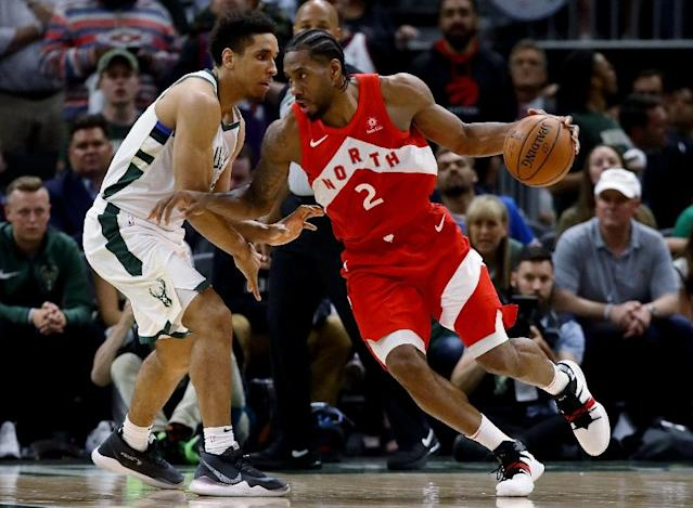 Toronto's Kawhi Leonard drives past Milwaukee's Malcolm Brogdon in the Raptors' game-five victory over the Bucks in the NBA Eastern Conference finals (AFP Photo/JONATHAN DANIEL)