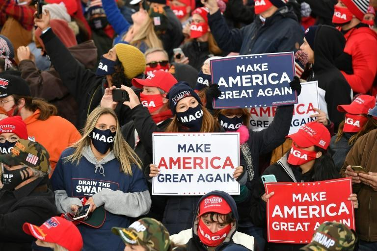Supporters of President Donald Trump in Muskegon, Michigan on October 17, 2020