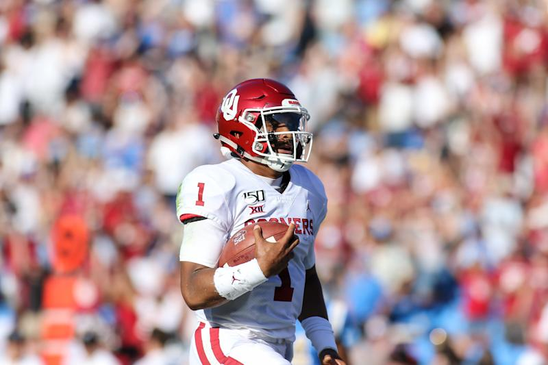Oklahoma QB Jalen Hurts has changed some scouts' minds with his early-season play. (Getty Images)