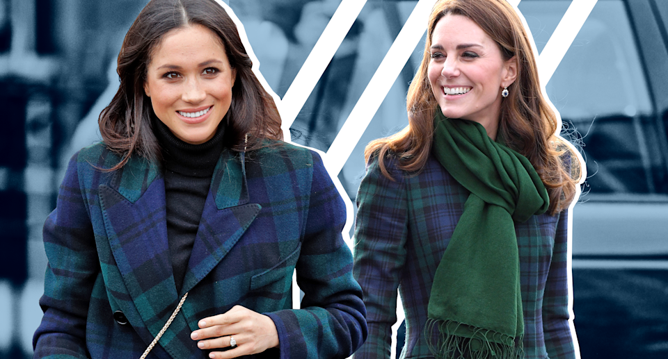 Meghan Markle and Kate Middleton match in tartan coats. (Photo: Getty Images; art: Yahoo Lifestyle photo-illustration)