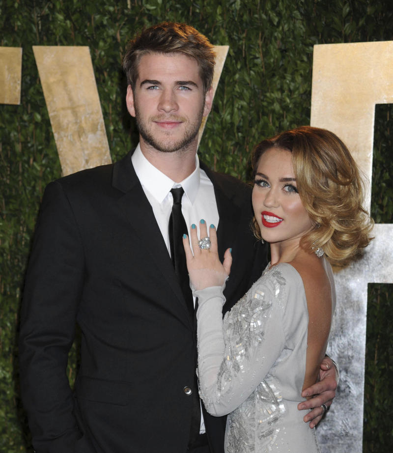 January 29th 2020 - Miley Cyrus and Liam Hemsworth divorce is officially finalized. - follow up to August 21st 2019 - Liam Hemsworth files for divorce from Miley Cyrus. - follow up to August 11th 2019 - Miley Cyrus and Liam Hemsworth have split up after less than one year of marriage. - File Photo by: zz/Dennis Van Tine/STAR MAX/IPx 2012 2/26/12 Liam Hemsworth and Miley Cyrus at the Vanity Fair Oscar Party. (Hollywood, CA)