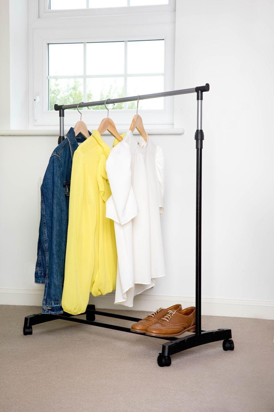 """<p>Clothes rails help to keep your space clutter-free, while also providing additional storage for coats or shoes in the hallway. At just £5, this rail from Poundland is perfect for every budget. What's not to love?</p><p><strong>READ MORE</strong>: <a href=""""https://www.housebeautiful.com/uk/lifestyle/storage/g28156340/clothes-rails/"""" rel=""""nofollow noopener"""" target=""""_blank"""" data-ylk=""""slk:8 stylish clothes rails perfect for extra storage"""" class=""""link rapid-noclick-resp"""">8 stylish clothes rails perfect for extra storage</a></p>"""