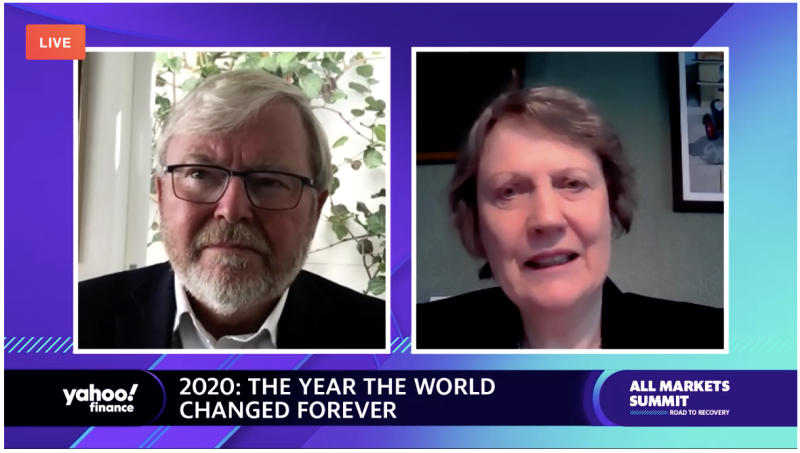 Kevin Rudd and Helen Clark appearing at the Yahoo Finance All Markets Summit.