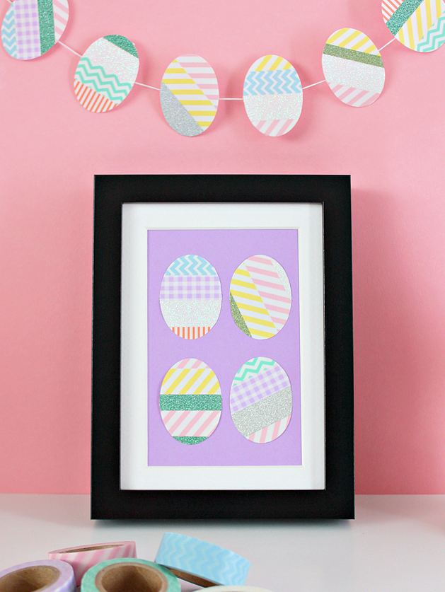 """<p>Colorful washi tape is a sure way for your kids to create fun designs that are mess-free. Simply put tape on white paper and cut out egg shapes. A frame will make this craft ever-lasting.<br></p><p><em><a href=""""https://www.whitehousecrafts.net/single-post/2017/03/29/WASHI-TAPE-EASTER-EGG-PICTURE-FRAME"""" target=""""_blank"""">Get the tutorial from White House Crafts »</a></em></p><p><a class=""""body-btn-link"""" href=""""https://www.amazon.com/Fun-Express-BB13644658-Primary-Patterned/dp/B012H7STWE/?tag=syn-yahoo-20&ascsubtag=%5Bartid%7C10055.g.711%5Bsrc%7Cyahoo-us"""" target=""""_blank"""">BUY WASHI TAPE</a></p>"""