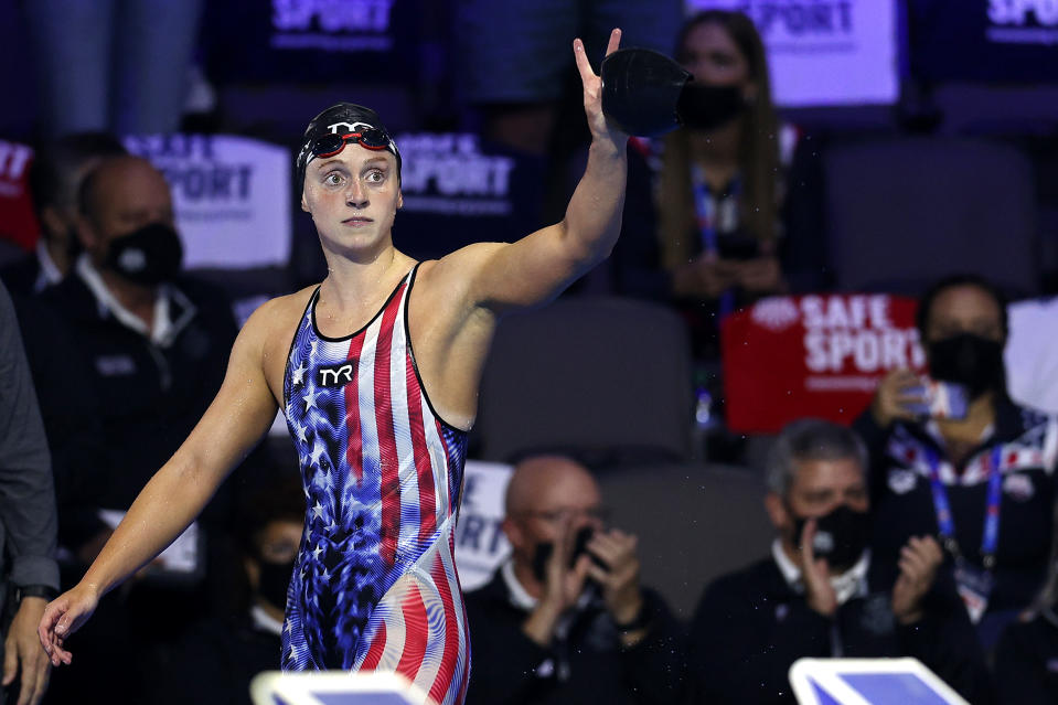 OMAHA, NEBRASKA - JUNE 19: Katie Ledecky of the United States reacts after competing in the Women's 800m freestyle final during Day Seven of the 2021 U.S. Olympic Team Swimming Trials at CHI Health Center on June 19, 2021 in Omaha, Nebraska. (Photo by Maddie Meyer/Getty Images)