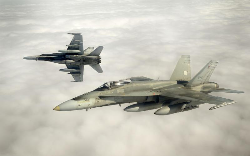 Canadian Forces CF-18 fighter jets take part in military exercises near Keflavik, Iceland
