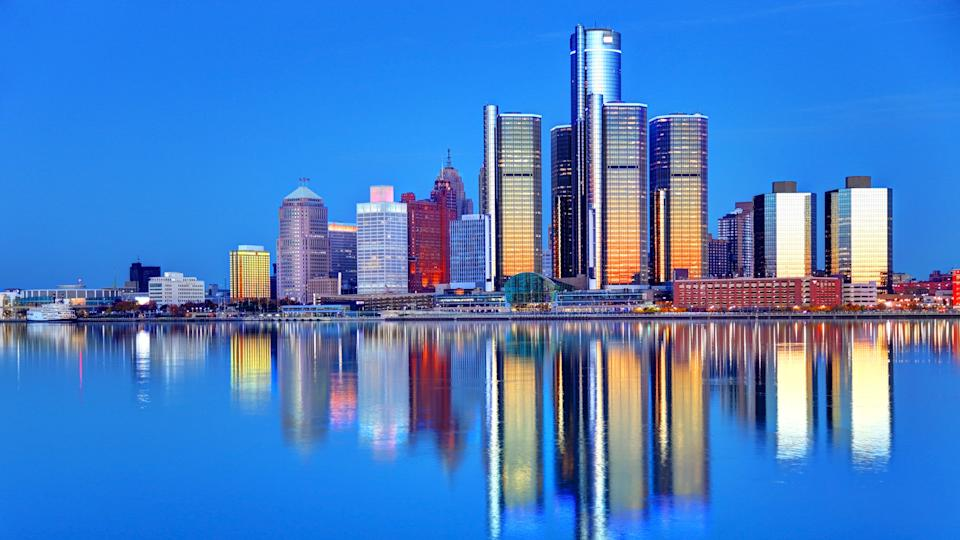 Downtown Detroit skyline reflection on the Detroit River.