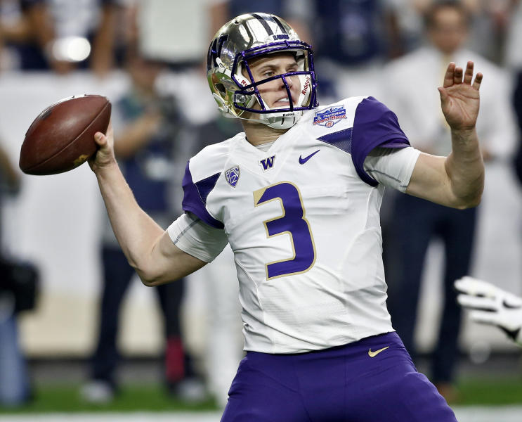 FILE - In this Dec. 30, 2017, file photo, Washington quarterback Jake Browning (3) throws against Penn State during the first half of the Fiesta Bowl NCAA college football game in Glendale, Ariz. Browning is hoping to repeat what Baker Mayfield did last year. Mayfield was a Heisman Trophy longshot in the preseason but ended up winning the award while leading Oklahoma to the College Football Playoff for the second time in three years. The senior leads a list of Heisman contenders who are off the radar. (AP Photo/Ross D. Franklin, File)