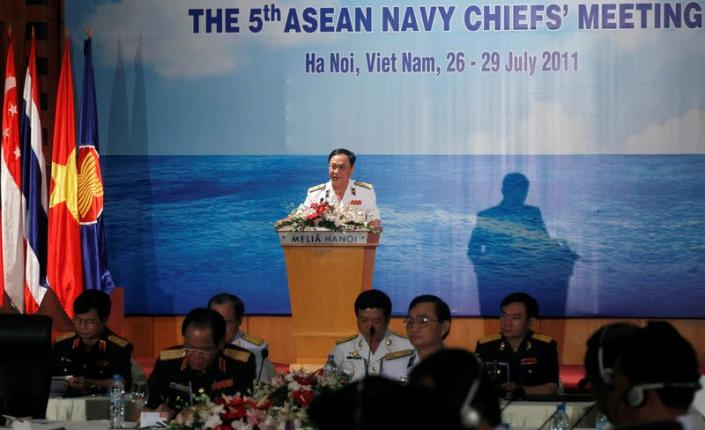 FILE PHOTO: Vietnam's Vice Minister of Defence and Navy Commander in Chief Vice Admiral Nguyen Van Hien addresses delegates at the 5th ASEAN Navy Chiefs meeting in Hanoi