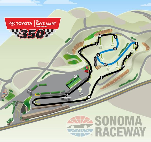 With the addition of the blue section, the Cup Series race at Sonoma will be eight miles longer but 20 laps shorter in 2019. (Via Sonoma Raceway)
