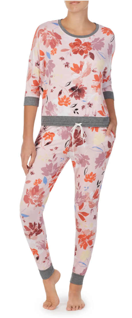 Room Service Jersey Pyjamas in Pink Watercolour Floral