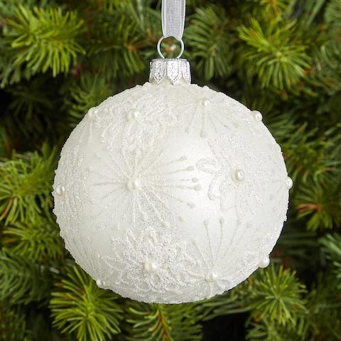John Lewis & Partners Snowscape Snowflake with Pearls Bauble - Credit: John Lewis & Partners
