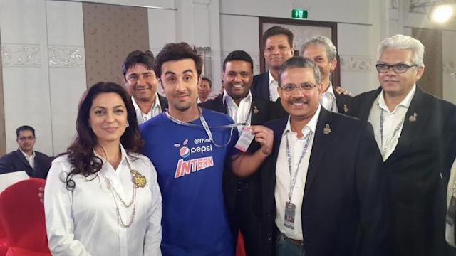 Actors Juhi Chawla, Ranbir Kapoor and Kolkata Knight Riders (KKR) MD and CEO Venki Mysore with other members of KKR management in Bangalore on Feb.12, 2014. (Photo: IANS)