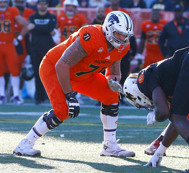 ea1c036c8 North offensive tackle Dalton Risner of Kansas State during the Senior Bowl  (AP Photo)