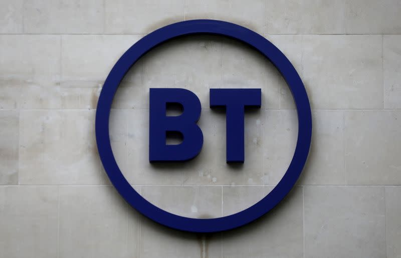 FILE PHOTO: Company logo is displayed at British Telecom (BT) headquarters in London
