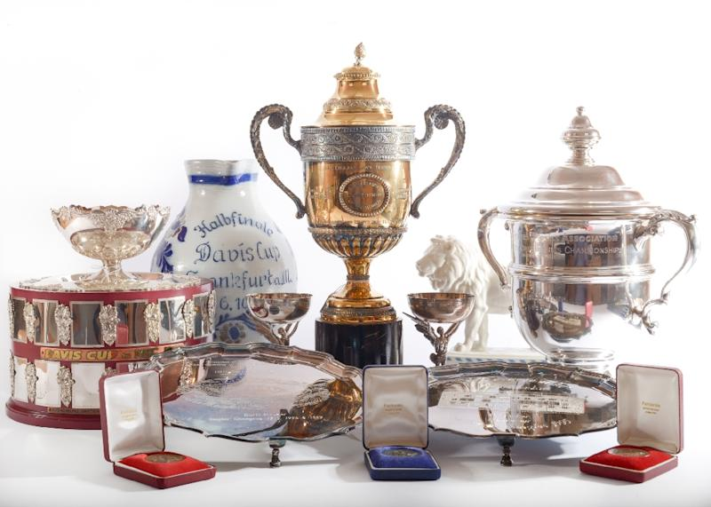 Some of the trophies up for grabs include a replica of a Challenge Cup and the three-quarter size replica of the Renshaw Cup presented after he became the youngest ever Grand Slam singles champion (AFP Photo/-)