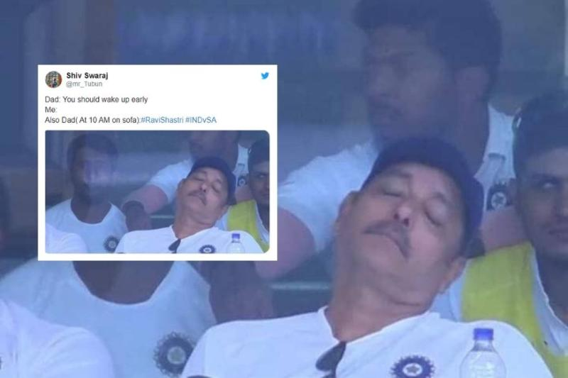 Ravi Shastri Sleeping During India-South Africa Match is the Internet's New Favourite Meme