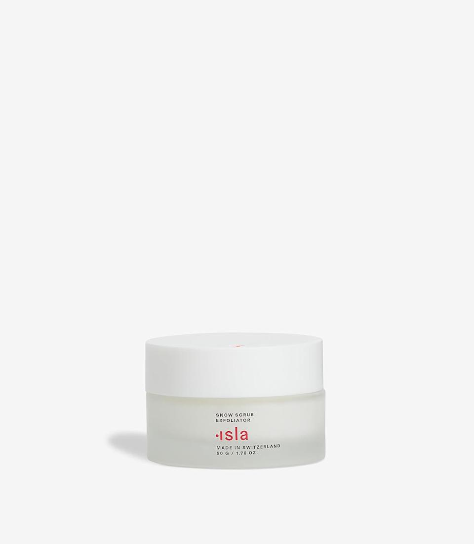 "<p>""When I say the texture of the <a href=""https://www.popsugar.com/buy/Isla-Beauty-Snow-Scrub-Exfoliator-578704?p_name=Isla%20Beauty%20Snow%20Scrub%20Exfoliator&retailer=isla-beauty.com&pid=578704&price=54&evar1=bella%3Aus&evar9=47519595&evar98=https%3A%2F%2Fwww.popsugar.com%2Fbeauty%2Fphoto-gallery%2F47519595%2Fimage%2F47519652%2FIsla-Beauty-Snow-Scrub-Exfoliator&list1=must%20haves%2Ceditors%20pick%2Cskin%20care&prop13=mobile&pdata=1"" class=""link rapid-noclick-resp"" rel=""nofollow noopener"" target=""_blank"" data-ylk=""slk:Isla Beauty Snow Scrub Exfoliator"">Isla Beauty Snow Scrub Exfoliator</a> ($54) is fun, I mean it literally bounces under your finger when you poke it. The physical exfoliant buffs away dead skin with all-natural silica particles and fruit pectins while Swiss glacial water and snow algae regenerate the skin. It even has a slight shimmer to it that can be seen when it catches the light."" - JH</p>"