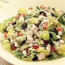 <p>Chicken turns this Greek-inspired salad into a substantial main course. Feel free to substitute other chopped fresh vegetables, such as broccoli or bell peppers, for the tomatoes or cucumber. Use leftover chicken, store-roasted chicken or quickly poach a couple boneless, skinless chicken breasts while you prepare the rest of the salad. Serve with pita bread and hummus.</p>