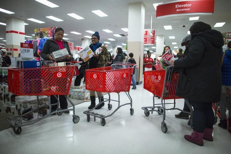 People shop inside a Target store during Black Friday sales in the Brooklyn borough of New York
