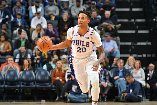"""<a class=""""link rapid-noclick-resp"""" href=""""/nba/players/5763/"""" data-ylk=""""slk:Markelle Fultz"""">Markelle Fultz</a> is out indefinitely after being diagnosed with a nerve disorder. (Getty)"""