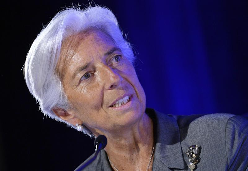 IMF Chief Christine Lagarde speaks during a meeting in Paris on July 18, 2014